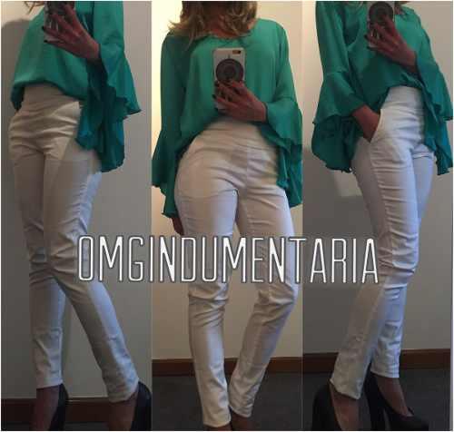 Pantalon Mujer Vestir Gabardina Elastizadoelstizado Chupin Tienda M45
