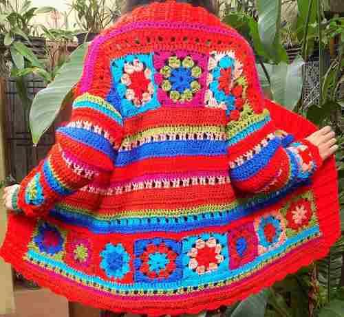 Tejidos Crochet Saco Combinado Patchwork Lana Tienda M45